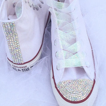 Rhinestone and Glitter Converse Bride Wedding Quiceanera Bat Mitzvah Prom  Shoes 270cf762be