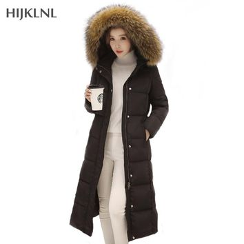 -30 Degree Down Coat 2017 New Winter Jacket Women Long Section Big Fur Hooded Duck Jackets and Coats Female Thick Parkas LH435