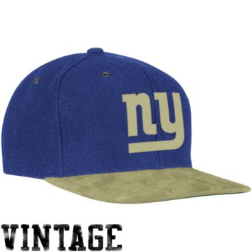 Mitchell & Ness New York Giants Winter Suede Adjustable Hat - Royal Blue/Natural