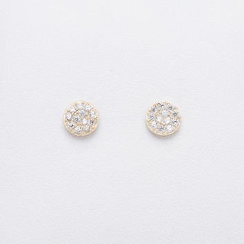 Sterling silver, gold plated disc stud earring with micro-pave clear cz stones