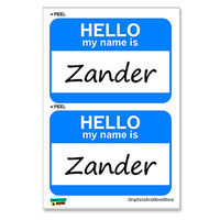 Zander Hello My Name Is - Sheet of 2 Stickers