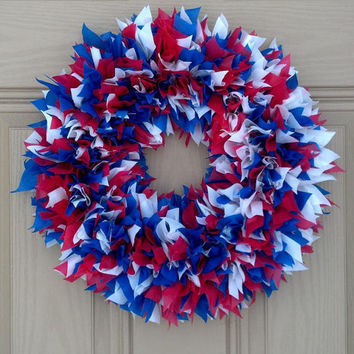 Indoor Outdoor All-Weather Wreath...Red, White & Blue. Perfect for Spring or Summer! Birthday Party, Wedding, Mother's Day, 4th of July