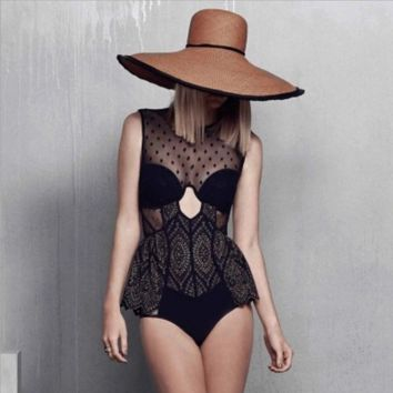 High-end wave point embroidery lace backless steel drag them net yarn one piece holes vest type sweater