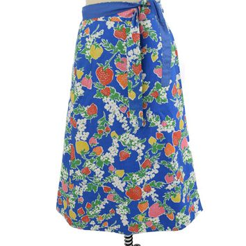 70s Strawberry Print Wrap Skirt