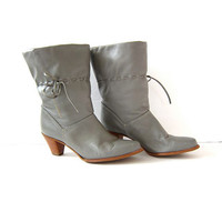 vintage leather cowboy boots / gray booties / cowgirl boots / tall leather boots / women's size 8.5