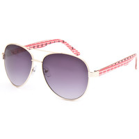 Full Tilt Ahoy Aviator Sunglasses Red/White/Blue One Size For Women 25638394801