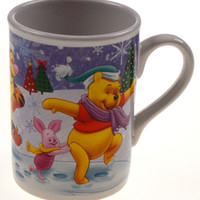 Winnie The Pooh Tigger Mug Holiday Scene Christmas Tree Hat Houston Harvest