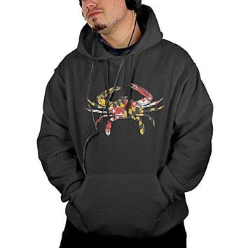 Retro U S-tyle Men's Cotton Hooded Sweatshirt Sportswear - Maryland Flag Crab Christmas