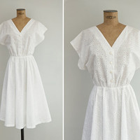 1970s Dress - Vintage 70s White Cotton Eyelet Dress - Paxos Dress