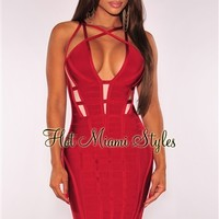 Red Strappy Caged Bandage Dress