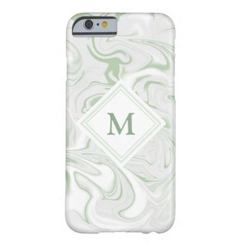 Sage and White Marble look with Diamond Monogram Barely There iPhone 6 Case