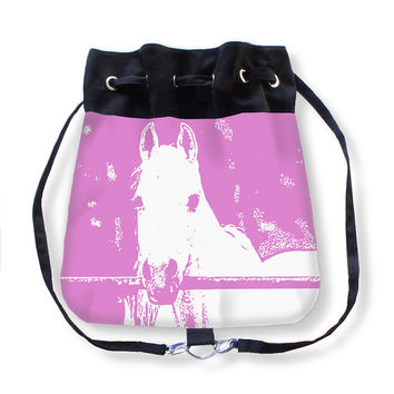 White Horse, Boho Bag, Backpack, Book Bag, Modern Bag, Pink, equestrian, animal bag, country living, Womens accessory, rustic, Farm