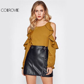 Ruffle Sweet Yellow Blouse Open Shoulder Women Sexy Long Sleeve Tunic Tops Fall Fashion Elegant O Neck New Blouse