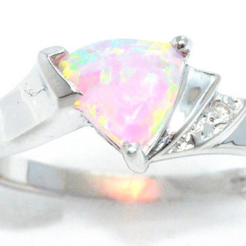 1.5 Carat Pink Opal Trillion Diamond Ring .925 Sterling Silver Rhodium Finish White Gold Quality