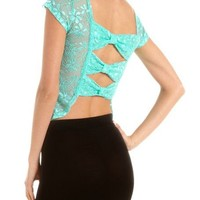 Bow-Back Sheer Lace Tee: Charlotte Russe