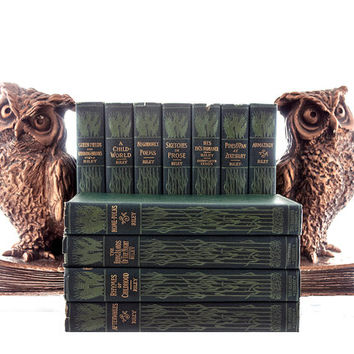 James Whitcomb Riley Poetry Collection 11 Volume Poetry Set 1900s Bobbs-Merrill Antiquarian Books Victorian Poetry Art Nouveau Boards