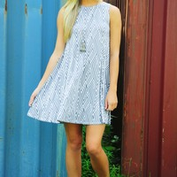 Summer Vibes Dress: Gray/White