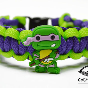 TMNT Bracelet, Donatello Bracelet, Teenage Mutant Ninja Turtles Jewelry, TMNT Jewelry, Custom TMNT Bracelet, Ninja Turtle Paracord Bracelet