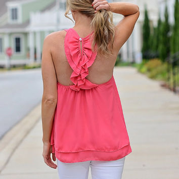 Ruffle Back Tank Top