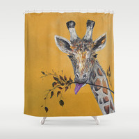 Giraffe in Orange Shower Curtain by  RokinRonda