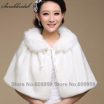 Wedding jacket wrap Shawl Cloak Cape Jacket Bridal Bolero Winter Wraps Coat Stole Faux Fur Fabric For Brides Womens 17015