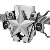 Buckle Rage Double Pistol Gun STAR Removable Lighter Belt Buckle Silver One Size