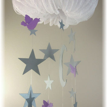 Gray Star Lavender Nursery Mobile, Nursery Bedding, Baby Shower Gift,  Moon and Stars Mobile, Cloud Mobile, Nauge Mobile
