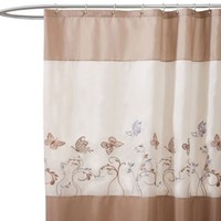 Butterfly Dreams Beige Fabric Shower Curtain