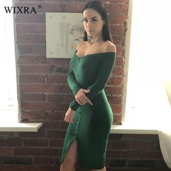 WIXRA Basic Slash Neck Dress Long Sleeve Off Shoulder Dress Women Rib Knit Bodycon Dresses Spring 2018 Slim Button Up Dress