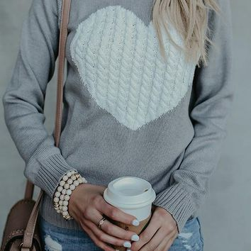 Grey Love Print Round Neck Long Sleeve Slouchy Casual Pullover Sweater
