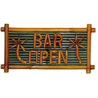 Bamboo 'Bar Open' Tiki Sign (Vietnam)