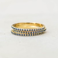 Eternity Ring Set - Gold with Sapphire Blue