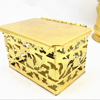 Small Brass Hinged Box, Colony Metalsmiths of Virginia, Made in Denbigh, Vintage Home Decor