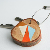 Pine wood keychain with stainless steel cable wire
