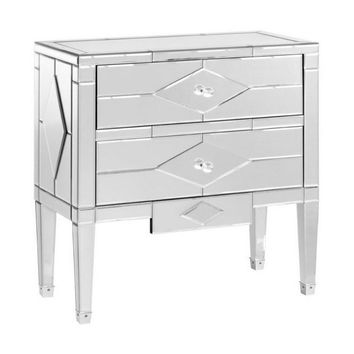Jasmine Glass 2 Drawer Side Table