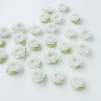 Floral Wedding Magnets 'Paradise Rose', White Party Favors, White Rose Favors