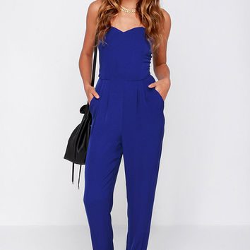 Honor System Royal Blue Strapless Jumpsuit