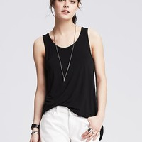 Banana Republic Womens Mixed Media Split Back Tank