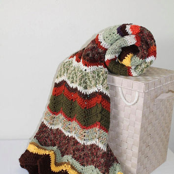 Afghan - Ripple Crochet Blanket - Autumn Scrap Afghan - Green Brown Camo with Yellow