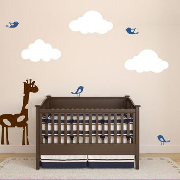 Baby Room Wall Decal with Giraffe, Clouds, and Birds