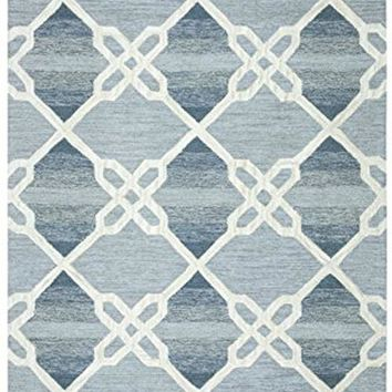 Caterine Collection Tufted Area Rug, 5' X 8', Blue/Off-White