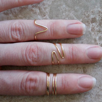 Mid Knuckle Rings, Set of 4, Gold Above The Knuckle Rings, Bohemian Rings, Midi Rings, First Knuckle Rings