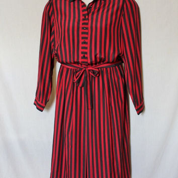 Red Striped 90s Secretary Dress Pinstripe Vintage Liz Claiborne Suit Retro Women Plus Size