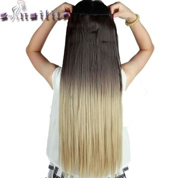 S-noilite 64CM Ombre Colored Synthetic Hair Extensions 5Clips Long Clip in Hairpiece Wigs Heat Resistant Dip Dye One Piece
