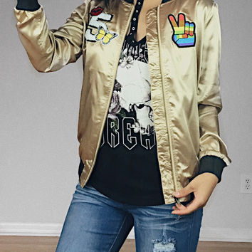 Dream Patch Satin Jacket (Champagne Gold)