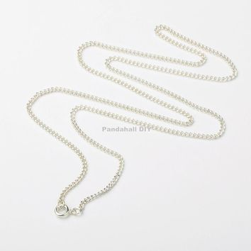 """100pcs Iron Silver Twist Chains for Necklace Making Jewelry Findings, with Brass Spring Ring Clasps, , 24"""""""