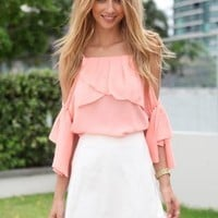 Peach Cutout Shoulder Blouse with Draped Ruffle Frill Detail