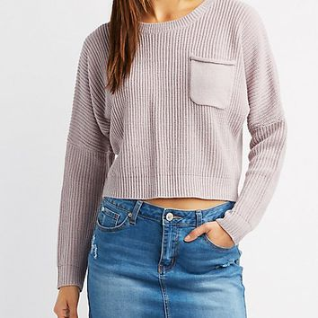 Shaker Stitch Pocket Cropped Sweater