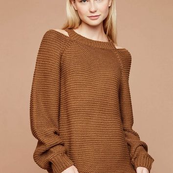 Knit Sweater with Open Shoulder Detail