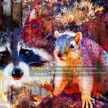 Animal Art Print, Squirrel Art, Raccoon Artwork, Kids Room Decor, Bedroom Wall Decor, Wildlife Art, Nature Decor, Living Room Wall Art Decor